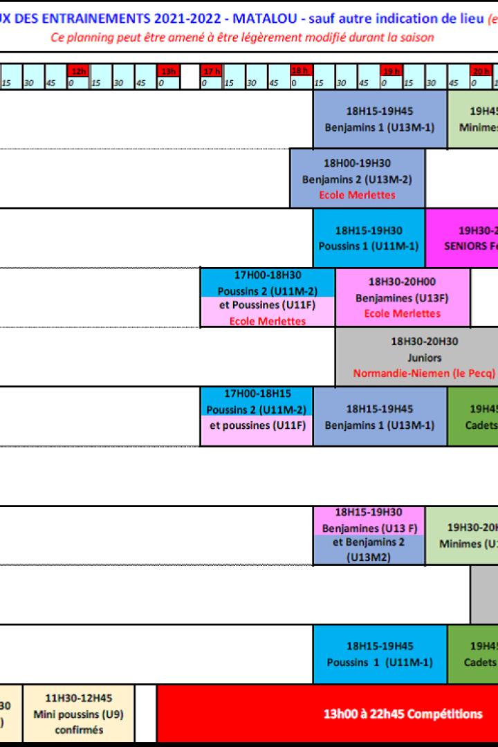 Planning des Entraînements 2021-2022