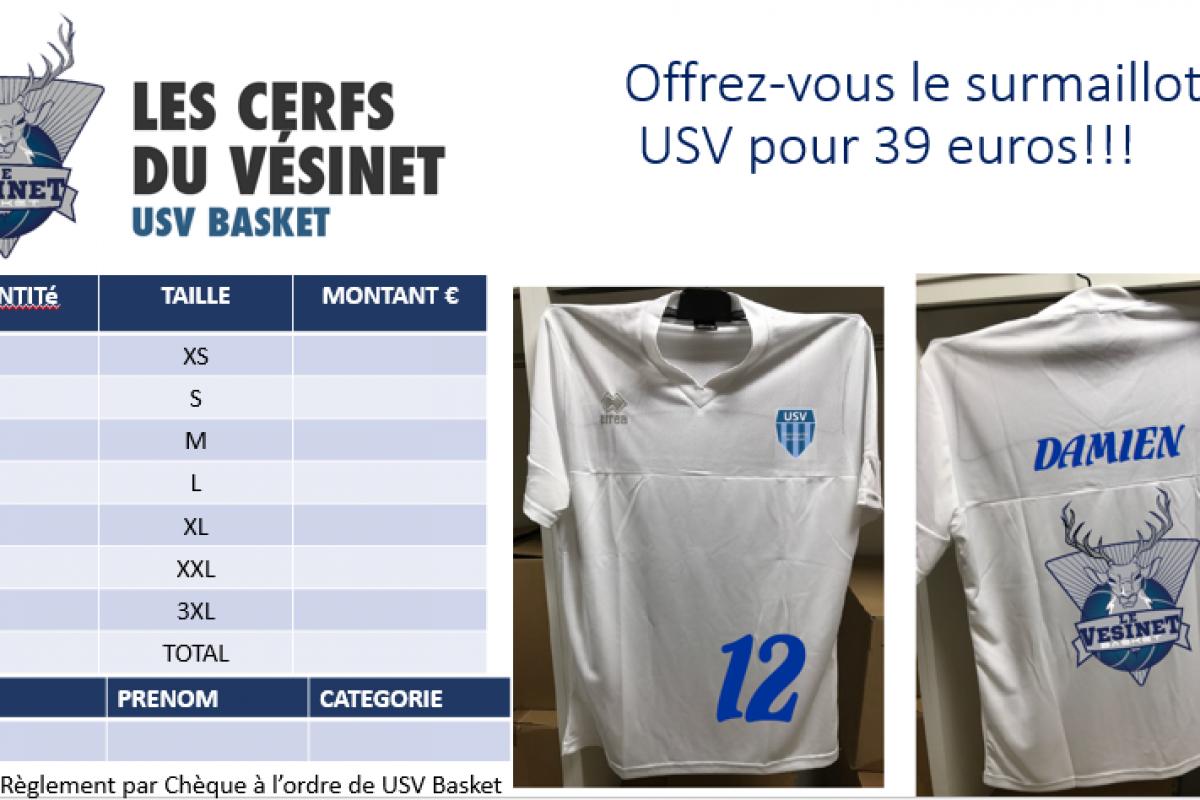 Le surmaillot Errea des Cerfs de l'USV Basket pour 39 euros avec votre prénom floqué