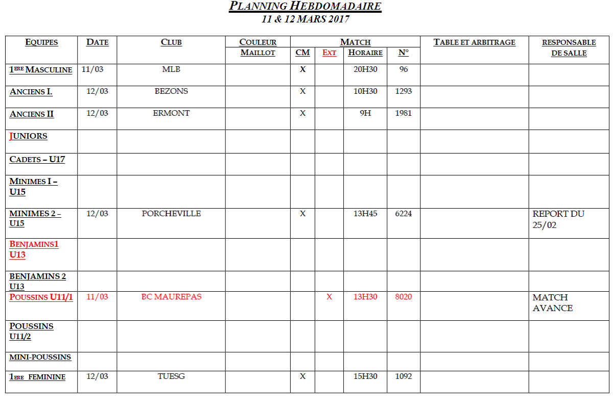 Planning du 11 et 12 Mars