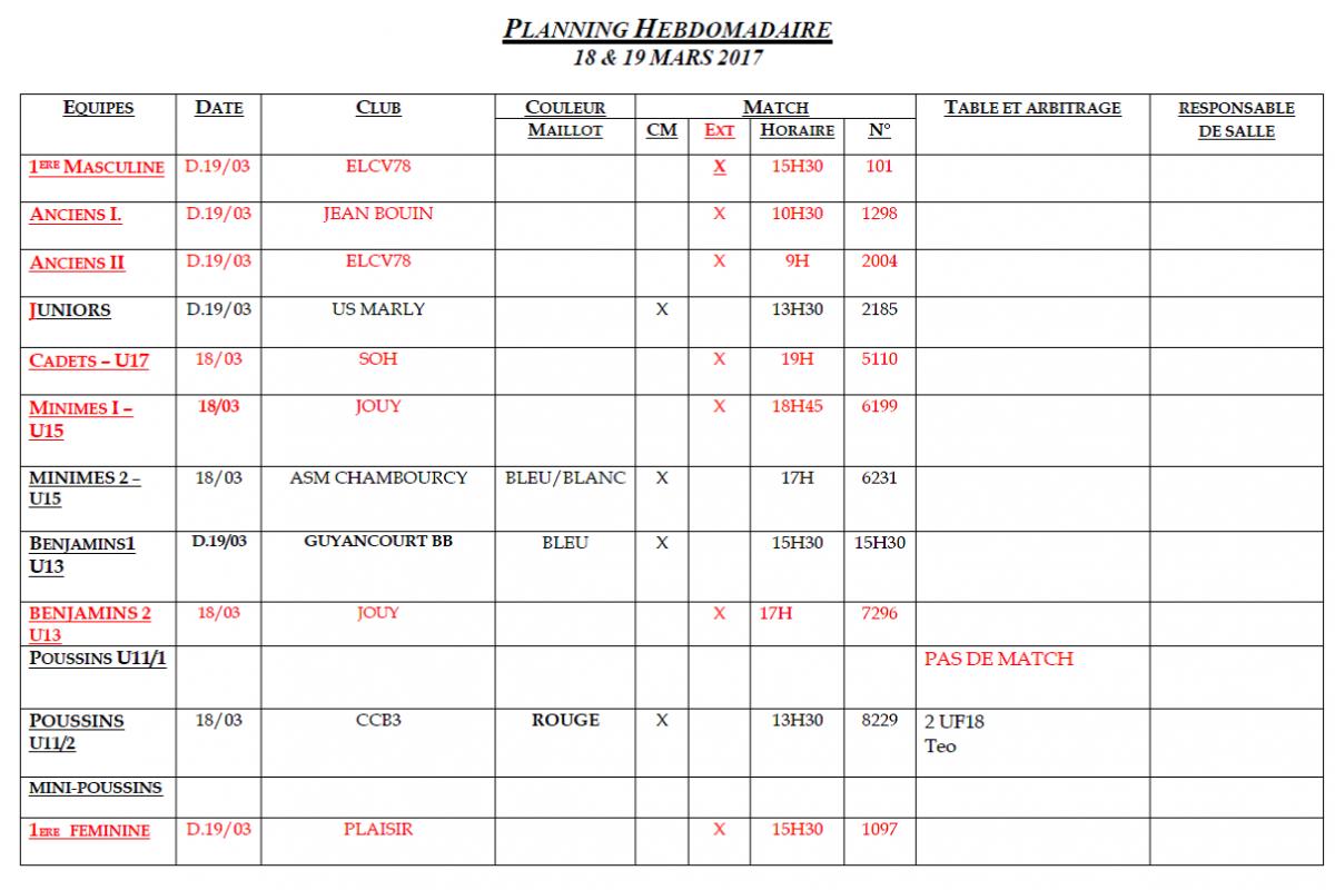 Planning du 18 et 19 Mars