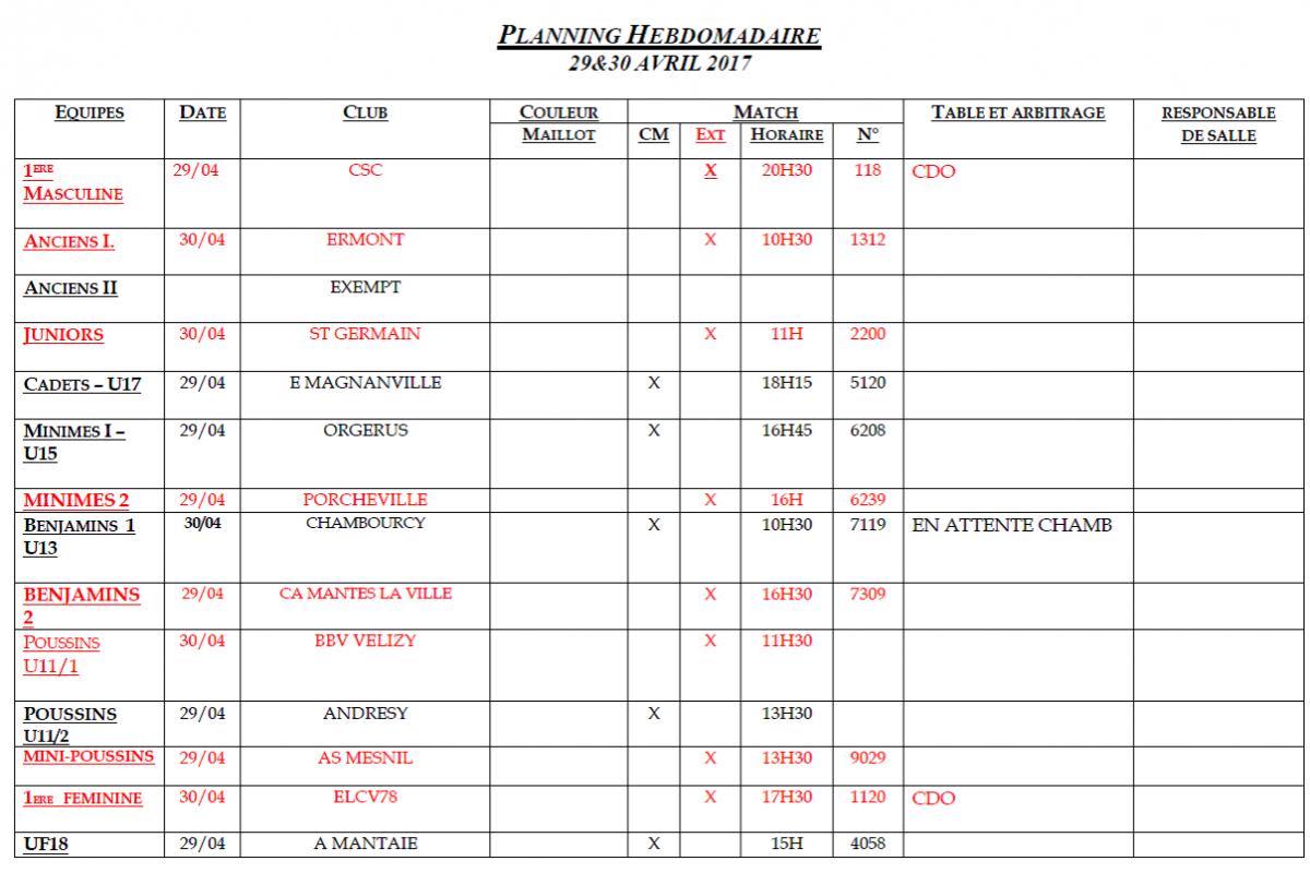 Planning des matchs du 29 et 30 Avril