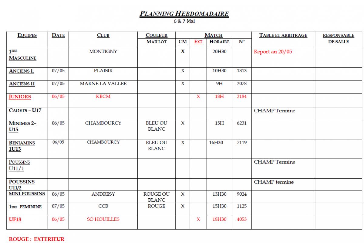 Planning des matchs des 6 et 7 Mai