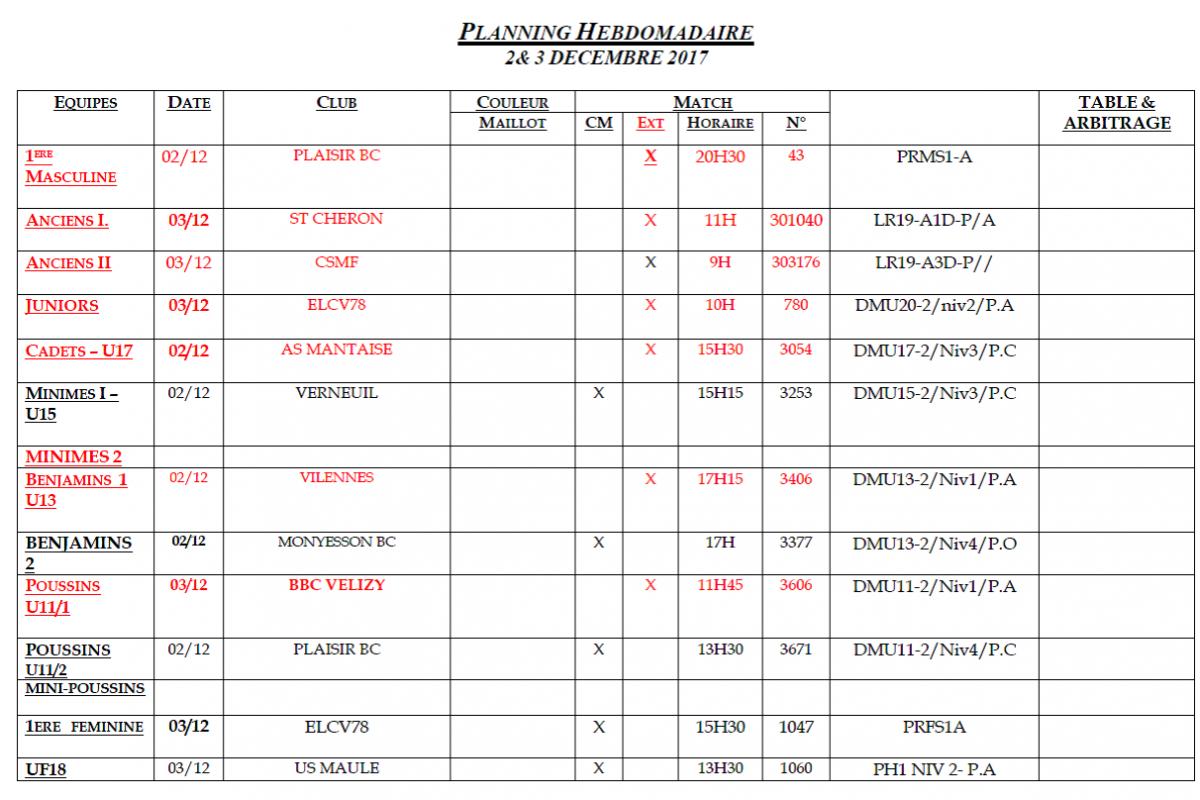 Planning des matchs des 2 et 3 Décembre