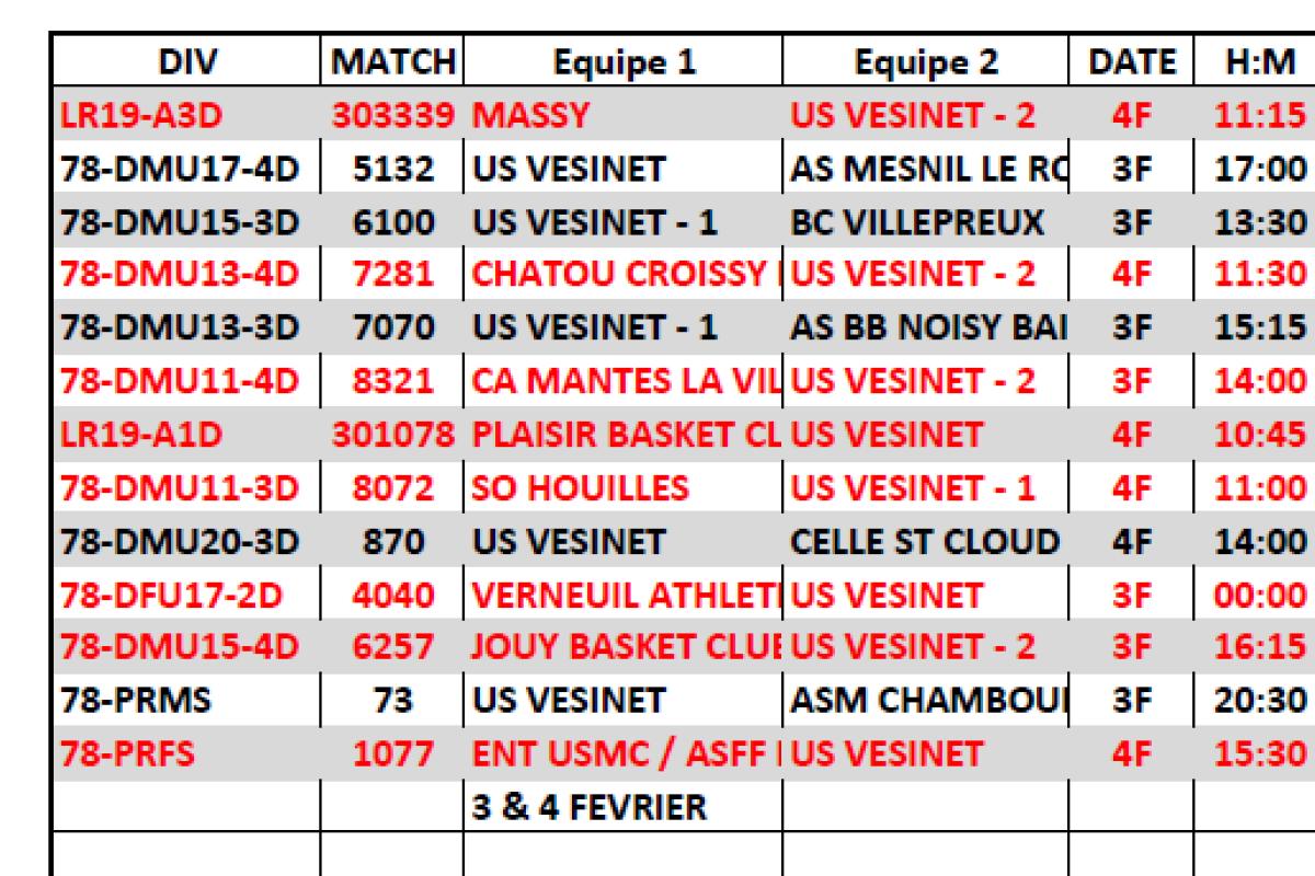 Matchs du 3 & 4 Février