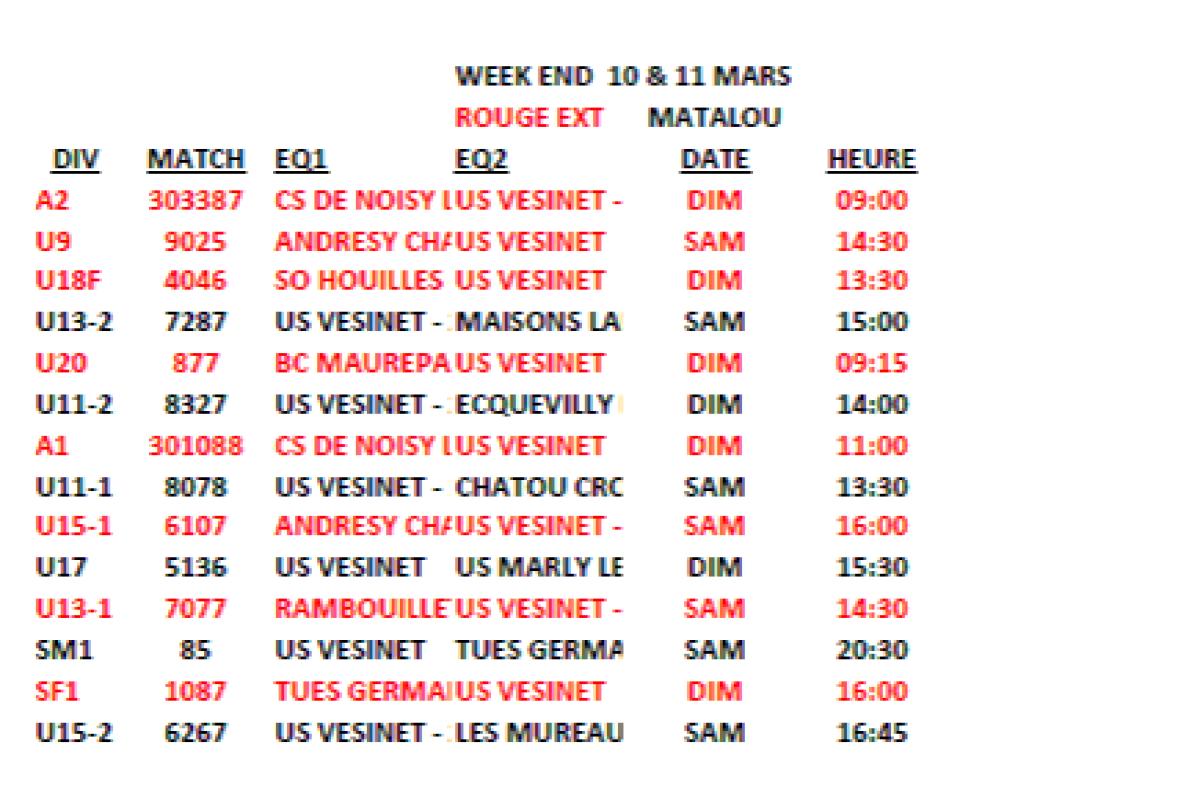 Matchs du week-end du 10 & 11 Mars