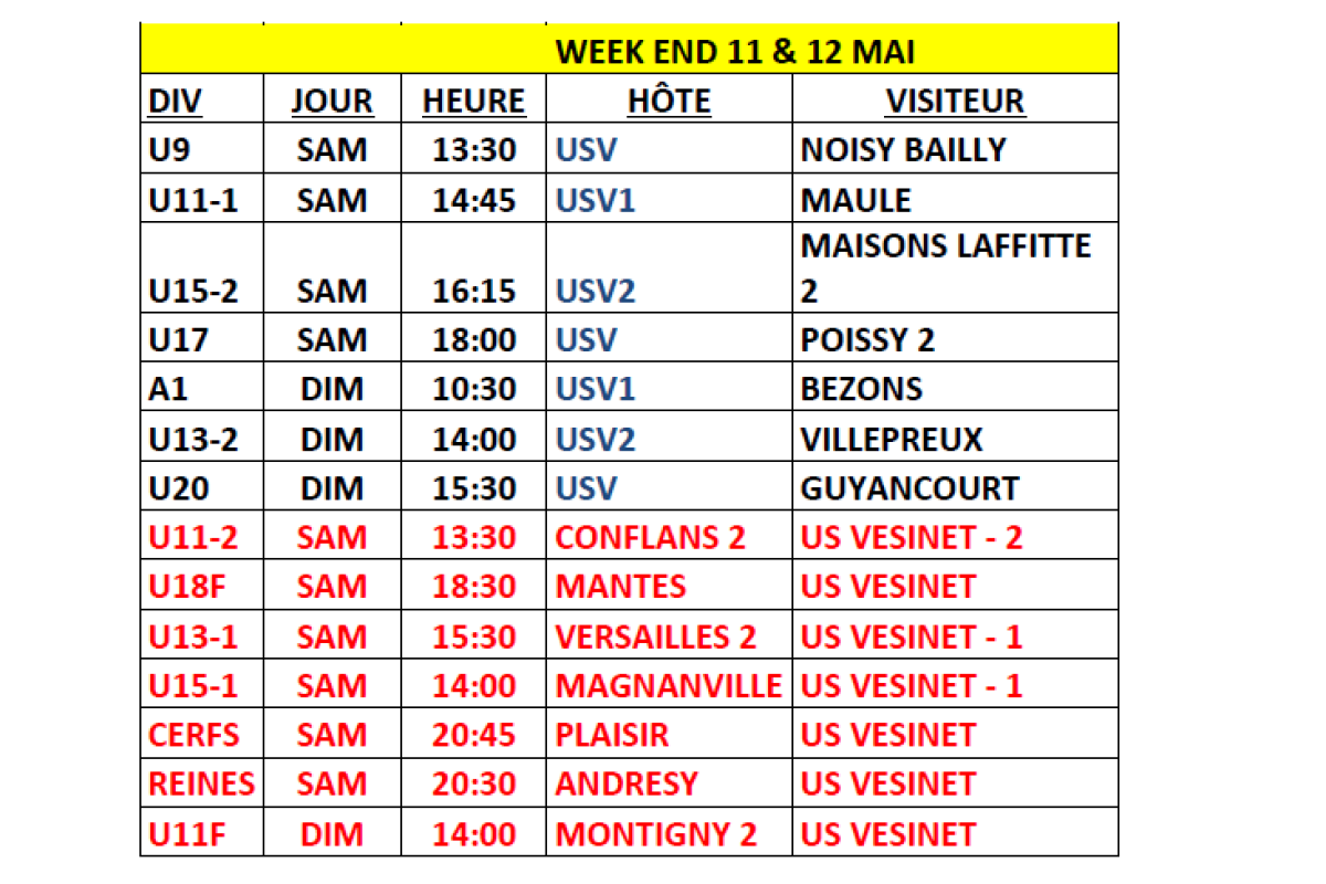 Planning des matchs du week-end du 11 & 12 Mai