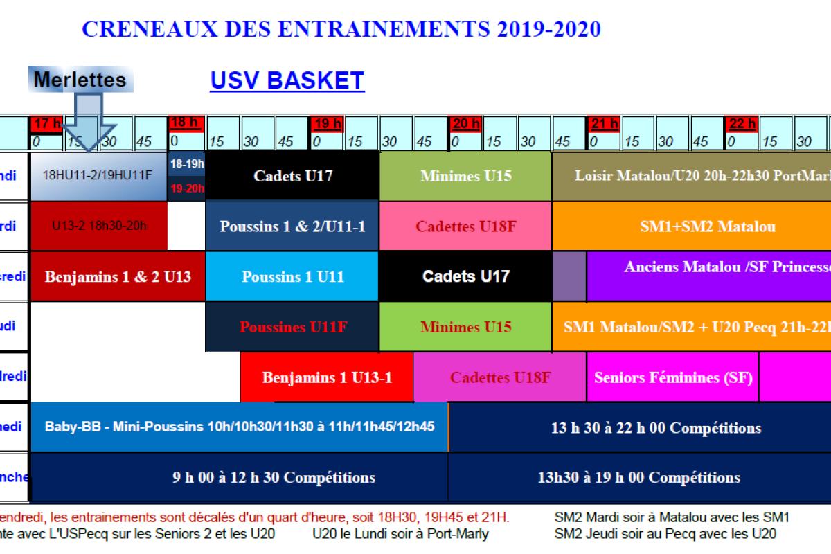 Créneaux 2019-2020 disponibles à l'onglet Saison