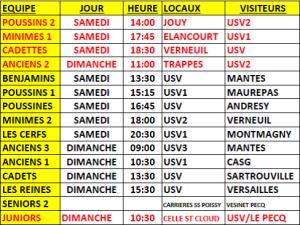 matchs 18 & 19 jan 2020