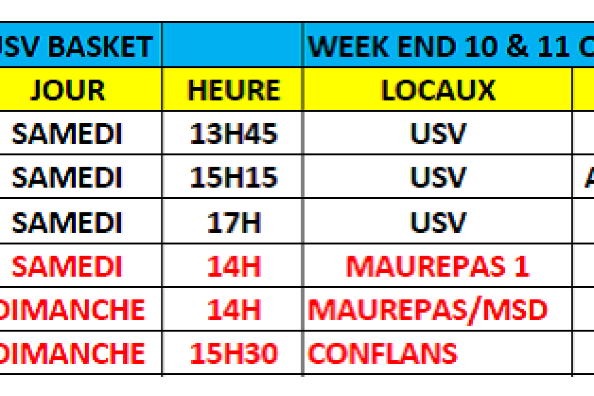 Matchs du week-end du 10 & 11 Octobre