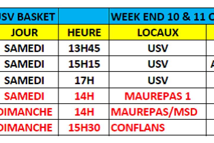 Matchs du week-end du 10 & 11 Octobre