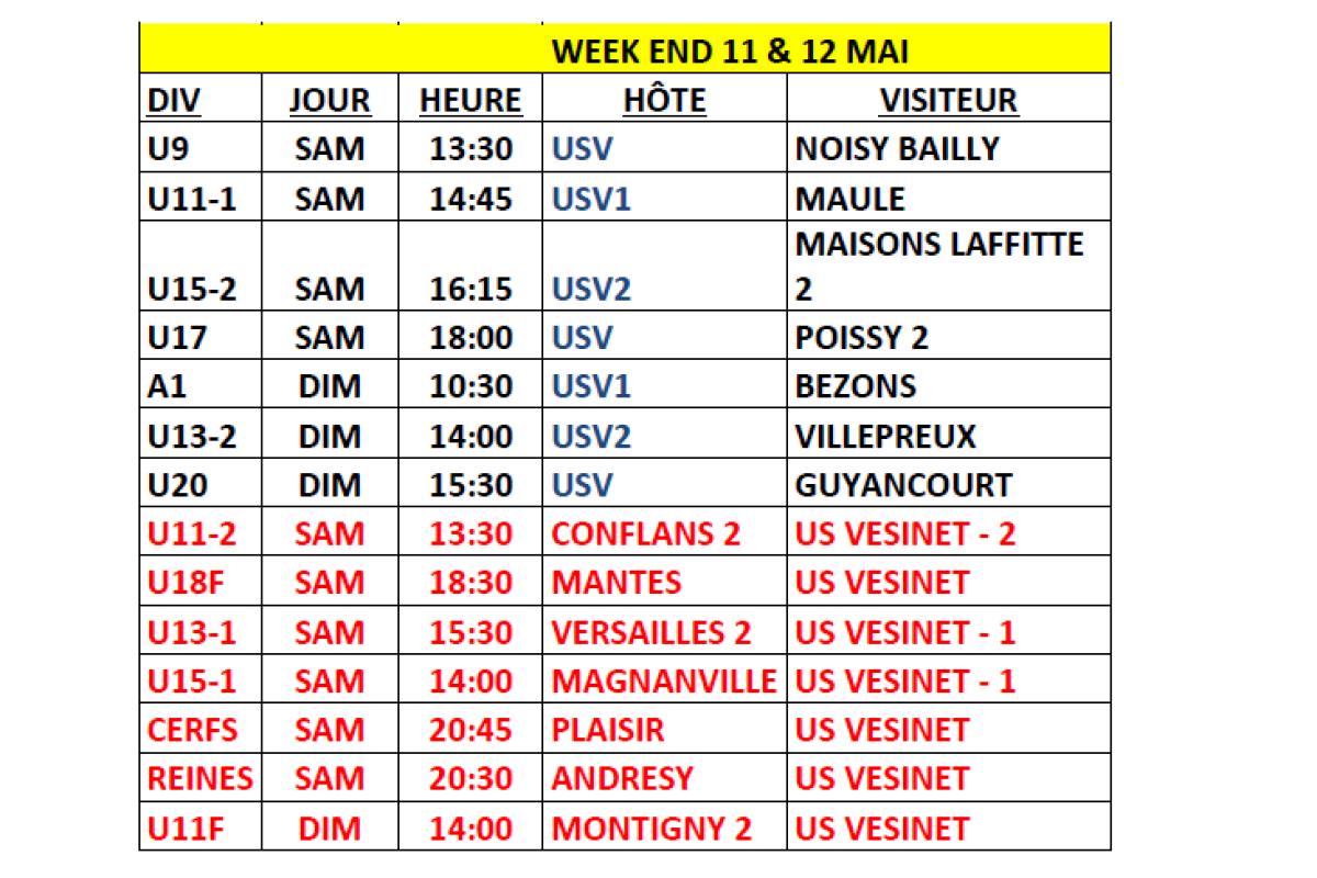 Planning des matchs du week-end du 11 & 12 Mai